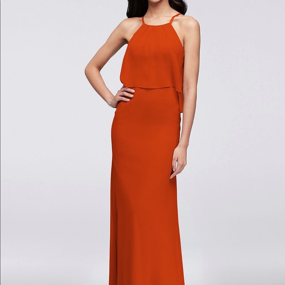 David's Bridal Dresses & Skirts - Sienna Flounced Crinkle Chiffon Bridesmaid Dress